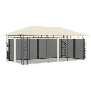 vidaXL Pavillon mit Moskitonetz 6x3x2,73 m Creme