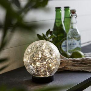 LED Solar Kugel Glory - transparentes Bruchglas - 30 warmweise LED - D: 12cm - Dämmerungssensor.