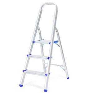 COSTWAY Trittleiter, Leiter aus Aluminium, Stehleiter Klappbar, Haushaltsleiter Klappleiter Mehrzweckleiter, Belastbarkeit 150 kg, Silbrig 3 Stufen