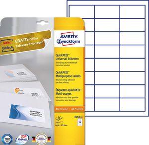 AVERY Zweckform Universal Etiketten 64,6 x 33,8 mm weiß 240 Etiketten