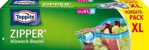 Toppits Zipper Allzweck Beutel XL 12x6l mit Reißverschluss