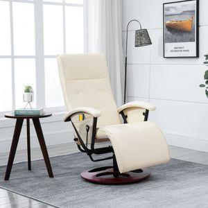 【Neu】Massagesessel Massagesessel Creme Kunstleder Gesamtgröße:66 x 130 x 94 cm BEST SELLER-Möbel-Stühle-Massagesessel im Landhaus-Stil