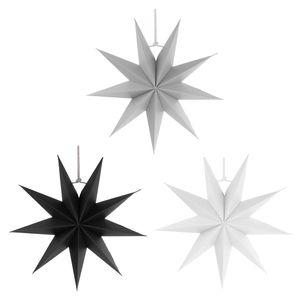3stk. DIY Papierstern Hängesterne Dekosterne Faltsterne mit 9 Winkel, Schwarz / Grau / Weiß