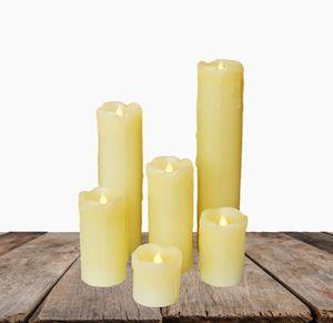 6x LED Echtwachs Kerze mit Timer 5 + 7 + 10 + 12,5 + 18 + 23 cm Set flackernder Docht inkl. Batterien Kerzen