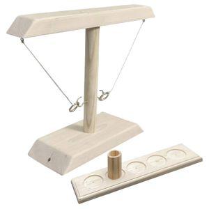 Handgefertigte Spiele,Hook and Ring Toss Kampfspiel Table Top Ring Toss für Erwachsene Trinkspiele(Holzfarbe)