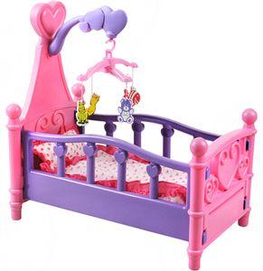 Großes Puppenbett mit Kissen Decke Karussell 3in1 Bunt Babys Kinder Dekoration 1400