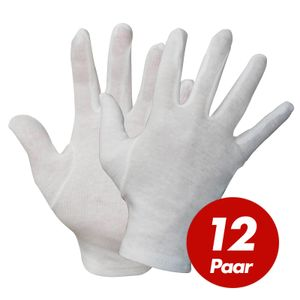 NITRAS Baumwoll Trikot-Handschuhe 531x - Unterziehhandschuhe weiß, Handschuhe fusselfrei - VPE 12 Paar Größe:10