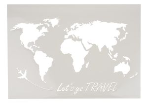 "Schablone ""Weltkarte lets go travel"", A3"