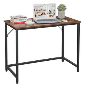 VASAGLE Schreibtisch 100 x 50 x 75 cm | Computertisch einfacher Aufbau schmaler Bürotisch Metall Industrie-Design vintagebraun-schwarz LWD41X