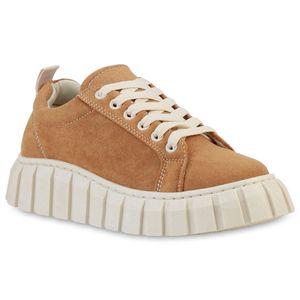 VAN HILL Damen Plateau Sneaker Freizeit Schnürer Profil-Sohle Schuhe 837635, Farbe: Hellbraun, Größe: 37