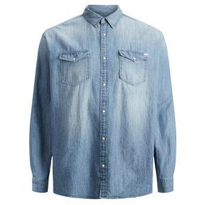 Jack & Jones Übergrößen Jeanshemd medium blue , Größe:5XL