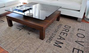 Design Couchtisch Tisch V-570H Nussbaum / Walnuss getöntes Glas Carl Svensson