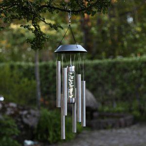 Star Trading LED Solar Windspiel Bubbly, Edelstahl, 350mm