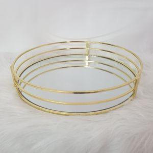 Spiegel Tablett Gold Dekotablett Serviertablett Kerzentablett Kerzenteller Rund