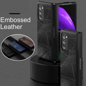 Accenter Hülle für Samsung Galaxy Z Fold 2 5G, Echtleder Handyhülle Luxus Leder Flip PC Schutzhüllen Case stoßfest Gehäuse Kratzfeste Stoßfeste Abdeckung Hülle