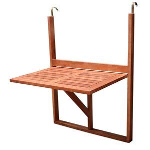 DEGAMO Hängetisch Balkonitsch Balkonhängetisch 60x40cm, Holz Akazie geölt, klappbar