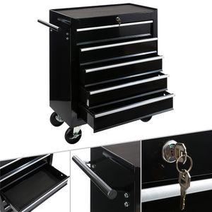 AREBOS Werkstattwagen Werkzeugwagen Werkzeug Rollwagen 5 Fächer schwarz - direkt vom Hersteller