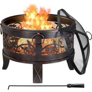 Yaheetech Bronze Feuerstelle für den Garten Feuerschale Feuerkorb Metallschale 66,5×64 cm (Ø×H), Mit Abdeckung und Schürhaken