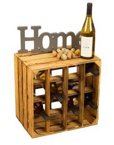 """Weinregal """"16er"""" geflammt"""" Weinablage Weinschrank Weinaufbewahrung Flaschenregal Holzregal Kistenregal Weinkiste Holzkiste"""