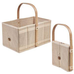 Handle-Box Nature Einkaufskorb mit Obst und Gemüsebeutel mit Holz-Griff
