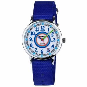 KZKR Nylon Armbanduhr Mädchen Kinderuhr Uhr Lernuhr Kinder Kinderarmbanduhr Herren Sport Jungen Watch Quartz Analog Blau