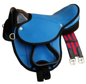 Pony-Shettysattel LittleBilly komplettes Set auch für Holzpferde auch für Holzpferde, Farbe:dunkelblau