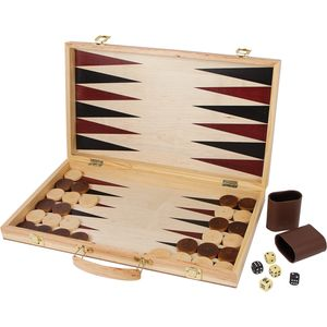 Small Foot 2853 Spielekoffer Schach und Backgammon aus Holz, natur