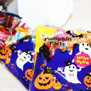 100 Stück Halloween Selbstklebend Taschen Beutel Geschenk Verpackung für Bonbons Brote Schokoladen Candy Größe 1