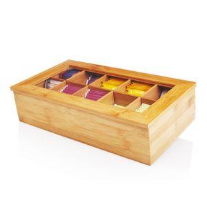 Lumaland Cuisine Teebox aus Bambus mit 10 Fächern ca. 36,7 x 20 x 9 cm nachhaltiges Material praktisch dekorativ edel