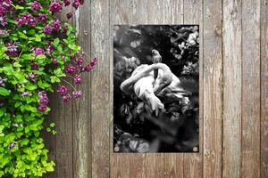 Gartenposter - Flamingo und Schmetterlinge im Dschungel - schwarz und weiß - 40x60 cm