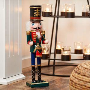 """Nussknacker """"Trommler"""" aus Holz in rot-grün, Gr: M, ca. H38cm Weihnachtsdeko Figur"""