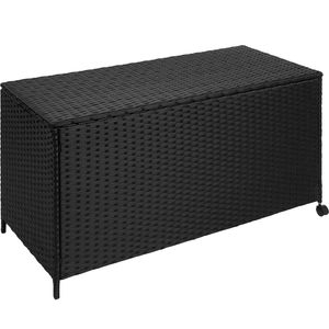 tectake Auflagenbox mit Aluminiumgestell, rollbar, 117x54,5x63cm - schwarz