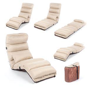 Smarte Relaxliege - Couch, Sessel & Gästebett - Klappmatratze, flexibel klappbare Liege & Gästebett - Beige