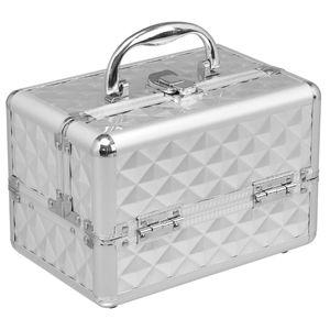 COSTWAY Kosmetikkoffer Schminkkoffer Beauty Case Schmuckkoffer Multikoffer Friseurkoffer mit Spiegel Silber