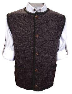 Herren Trachten Wollweste Strickjacke Trachten Weste aus Schurwolle, Größe:50/M, Farbe:Anthrazit