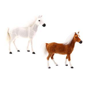 2 Stücke Realistische Plüschpferd Tierfigur Plüschtier Plüschspielzeug Kinder Geschenke Wohnkultur ( Weiß + Braun )