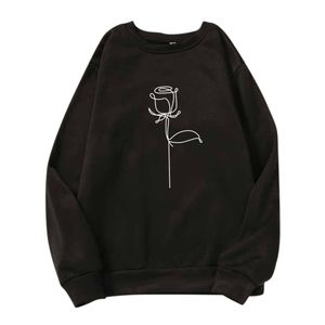 Damen Herbst Langarm Print Langarm O-Ausschnitt Casual Teenager Sweatshirts Größe:L,Farbe:Schwarz