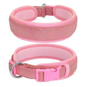 Weich gepolsterte Hundehalsband Dick Breit Haustier Hundehalsband justierbar für Medium Large Dog -(Rosa,M)
