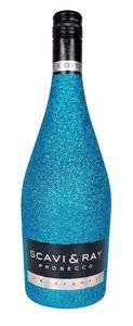 Scavi & Ray Prosecco Frizzante 0,75l (10,5% Vol) Bling Bling Glitzerflasche Blau -[Enthält Sulfite]