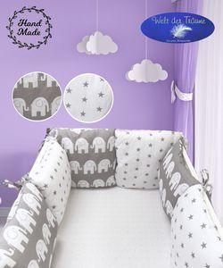 Bettumrandung Kantenschutz Bettnestchen Nest Kopfschutz Kissen-Nestchen Babybett  – 6 Stück Kissen Elefanten (Muster 10)
