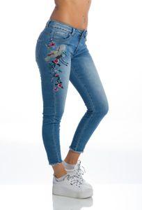 Röhren Jeans mit Vogel- und Blumen-Stickerei, Farbe: Blau, Größe: 38