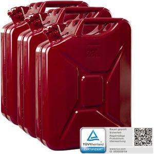 Oxid7® Metall Benzinkanister, pulverbeschichtet, rot 20 Liter - 3 Stück