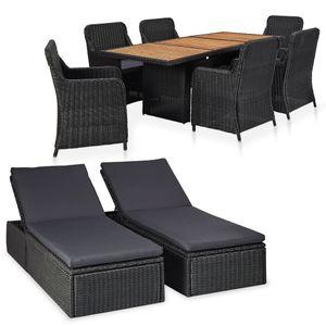 Hochwertigen Garten Sitzgruppe Gartengarnitur - 9-teiliges Garten-Lounge-Set - Gartengarnitur Set Poly Rattan Schwarz☆1206