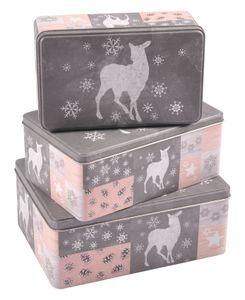 Weihnachtsdosen 3er-Set Plätzchendose Gebäckdose Keksdose Vorratsdose Deko eckig, Variante:Wichtel
