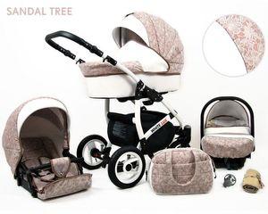 Kinderwagen White Lux, 3 in 1 - Set Wanne Buggy Babyschale Autositz Zubehör Tree