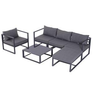 Outsunny 6-tlg. Gartenset Gartengarnitur Gartensofaset Sitzgruppe Gartenmöbel Aluminium + Polyester + Hartglas Grau mit Kissen für 4–5 Personen