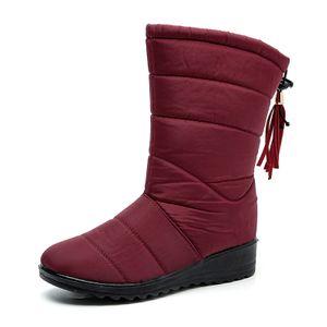 Damen Stiefel Winter Schneeschuh Wärme Rutschfest Mit Fransenstiefel,Farbe: Rot,Größe:40