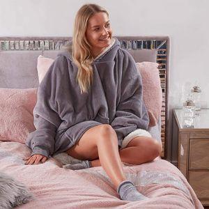 Kapuzen-Sweatshirt ultraweich Sherpa-Fleece warm gemütlich übergroß tragbar mit Kapuze Anthrazit