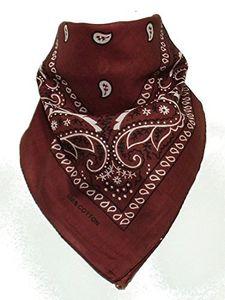 BOOLAVARD 100 % Baumwolle 1pcs, 6pcs oder 12pcs packen Bandanas mit Original Paisley Muster Farbe Wahl Kopfbedeckung / Haare (Brown)