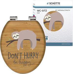 TE MDF WC Sitz DON'T HURRY,  Toilettensitz mit Holzkern und Absenkautomatik, Bambusoptik